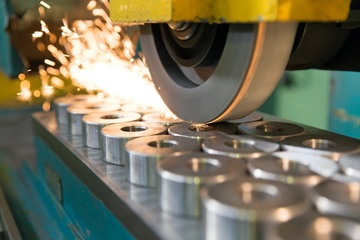 Steel components on production line